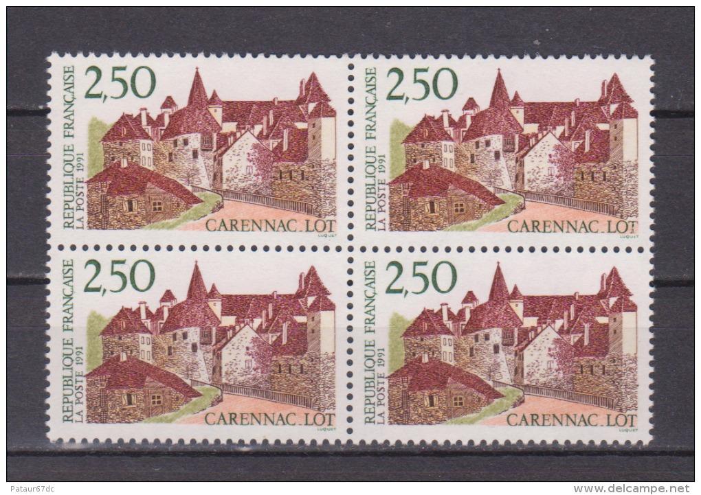 FRANCE / 1991 / Y&T N° 2705 ** (4 TP En Bloc) : Carennac - Gomme D´origine Intacte - Neufs