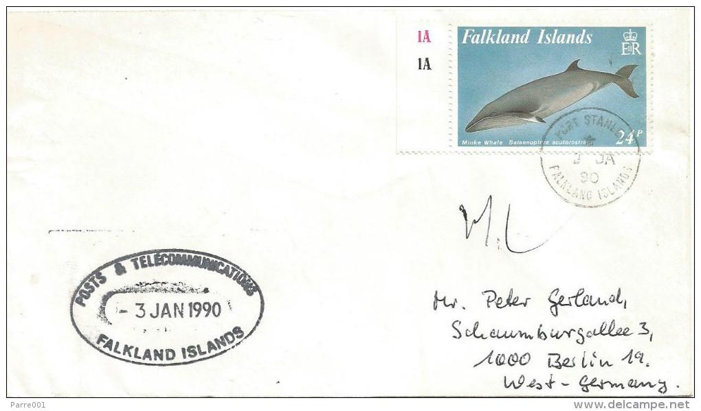 Falkland Islands 1990 Port Stanley Minke Whale Cover - Falklandeilanden