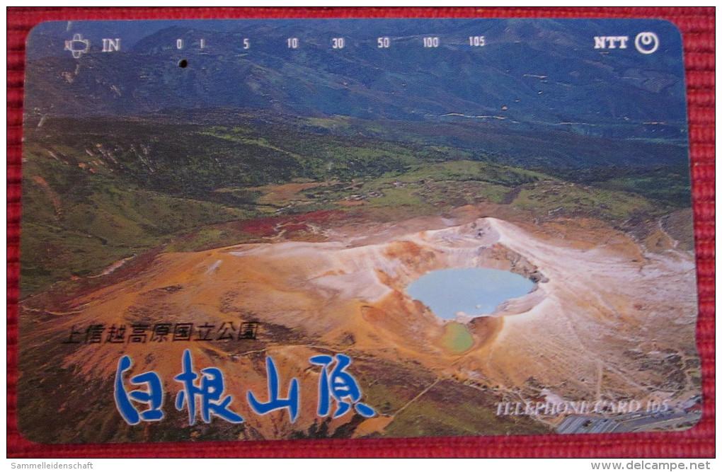 Telefonkarte Asien Japan NTT Vulkan Landschaft See Telephone Card 1992 - Volcanos