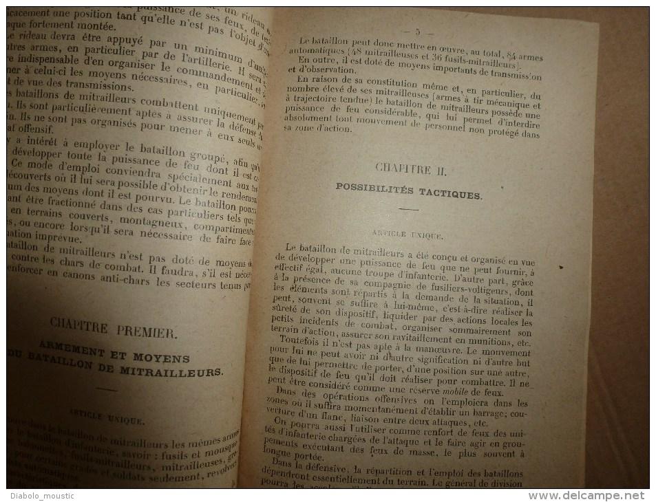 1924 Notice Sur Les BATAILLONS MITRAILLEURS........Manoeuvre D'Infanterie - Livres
