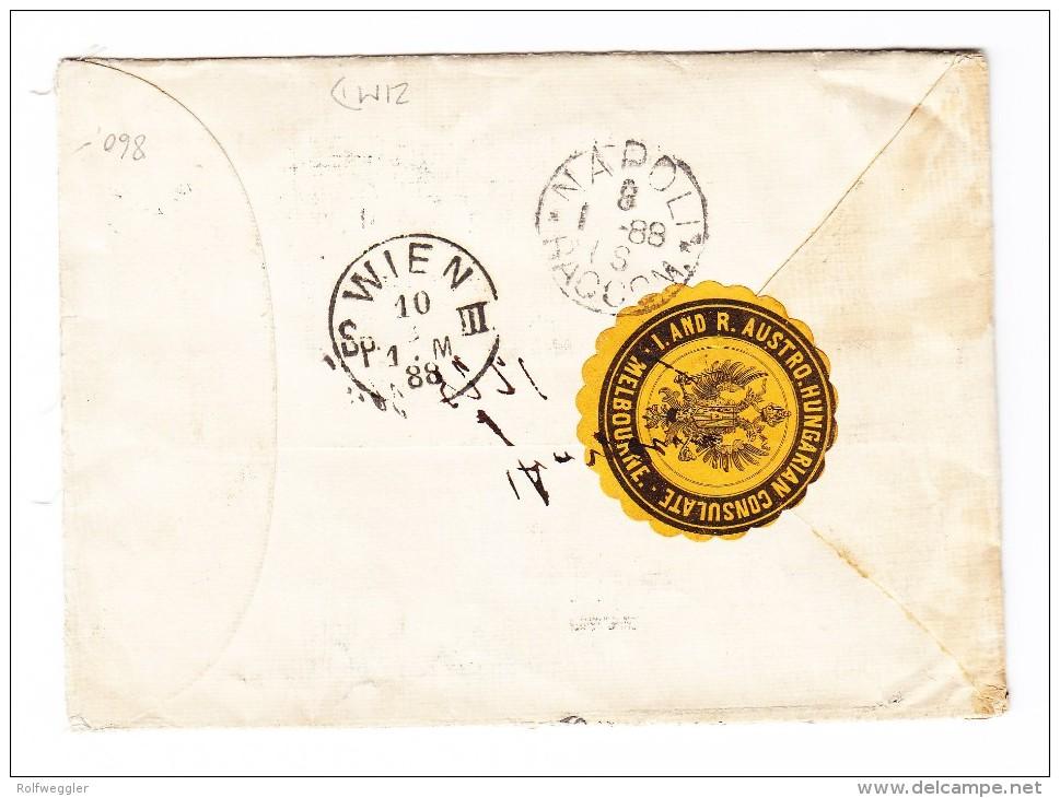 """Victoria R-Brief Nach Wien AT Mit Schiff """"SS ORMUZ Via Naples"""" SG 236 + 298 + 299 - 1850-1912 Victoria"""
