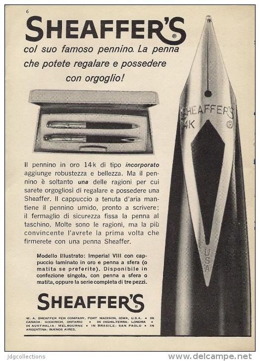 # SHEAFFER´S FOUNTAIN PEN IOWA 1950s Italy Advert Publicitè Publicidad Reklame Penna Fuller Pluma Stylo Encre Ink - Pens