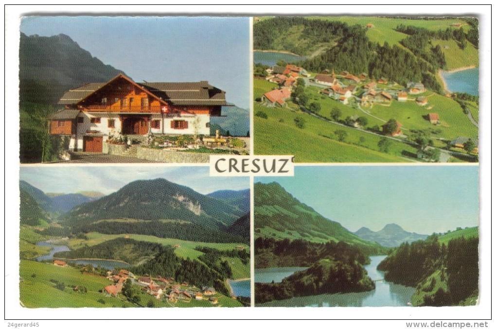 CPSM CRESUZ (Suisse-Fribourg) - Le Vieux Chalet Vallée De Jogne Et Lac De Montsalvens : 4 Vues - FR Fribourg