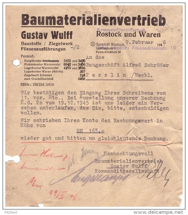 Gustav Wulff In Rostock Und Waren , 1946 , Bau - Ziegelei , Bau , Mecklenburg , Post !!! - Deutschland