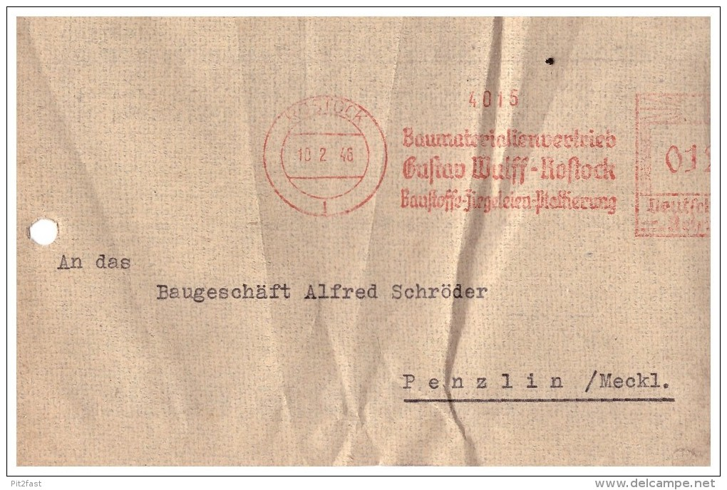 Gustav Wulff In Rostock Und Waren , 1946 , Bau - Ziegelei , Bau , Mecklenburg , Post !!! - Briefe U. Dokumente
