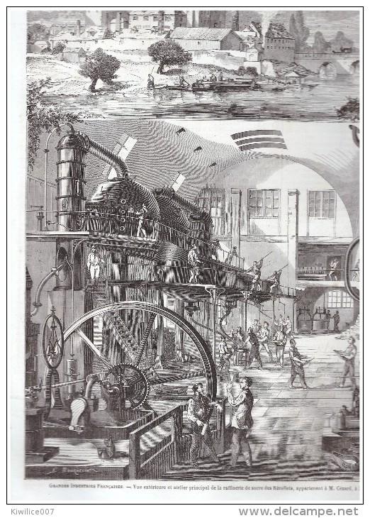 2 GRAVURE D Epoque   1864 NANTES    Raffinerie   De Sucre Des RECOLLETS        De Cezard   Sugar  Usine Factory - Vieux Papiers