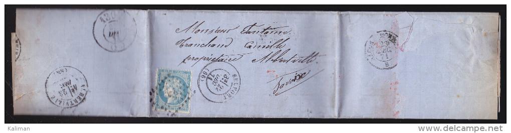 France - Lettre N° 60 Obl. 1871 - PC / Belfort / Bureau De Passe 1307 / Macon / Albertville - 1849-1876: Classic Period