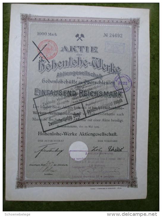 A2675) Aktie Hohenlohe-Werke Hohenlohehütte Oberschlesien 1000 Mk Von 1905 - Industrie