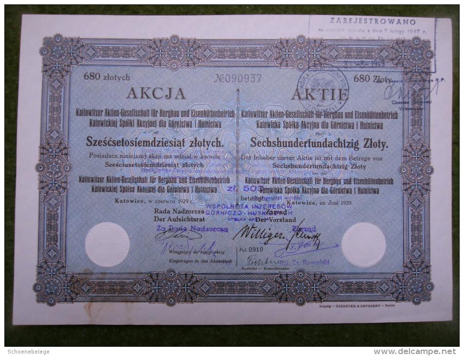 A2676) Aktie Kattowitzer AG Für Bergbau Oberschlesien 680 Zl Von 1929 - Bergbau