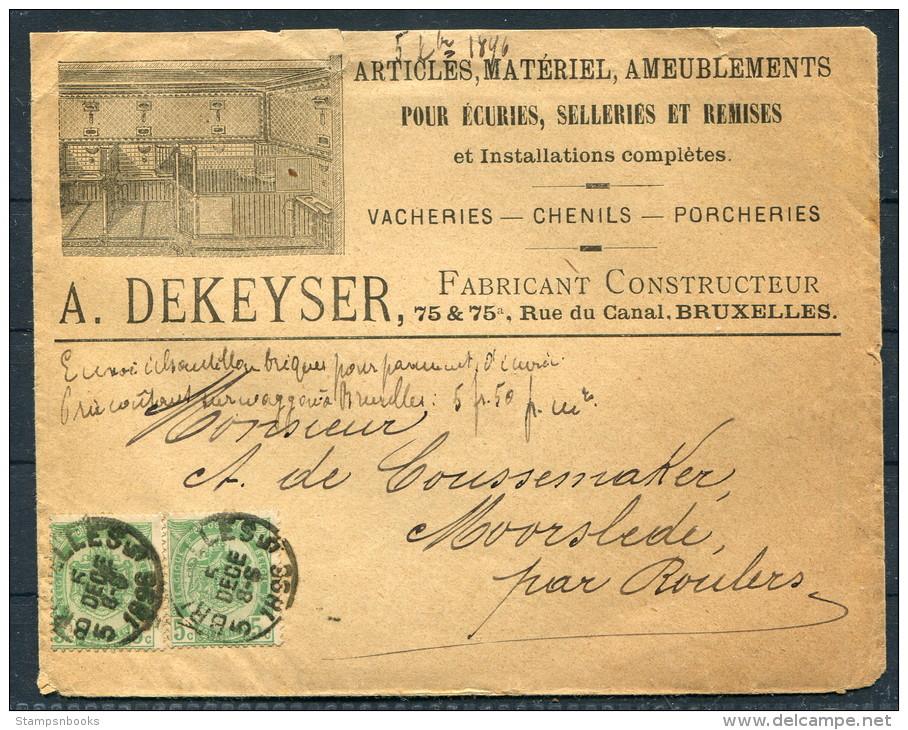 1896 Belgium A. Dekeyser Advertising Cover / Ameublements Ecuries Selleries Remises Vacheries Chenils Porcheries - Advertising