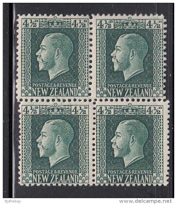 New Zealand SG #423, #423a Scott #152 4 1/2p George V, Dark Green Block Of 4 Top Pair Perf 14x13.5; Bottom Pair 14x14.5 - 1907-1947 Dominion