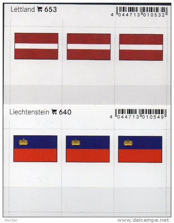 In Farbe 2x3 Flaggen-Sticker Liechtenstein+Lettland 4€ Kennzeichnung An Alben Karten Sammlung LINDNER 640+653 FL Latvija - Ohne Zuordnung