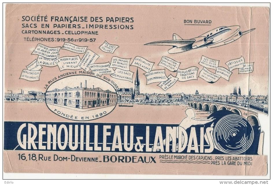 BUVARD Papeterie Imprimerie - Societé Française Des Papiers - état Moyen , Défauts Déchirure - BORDEAUX - Papeterie