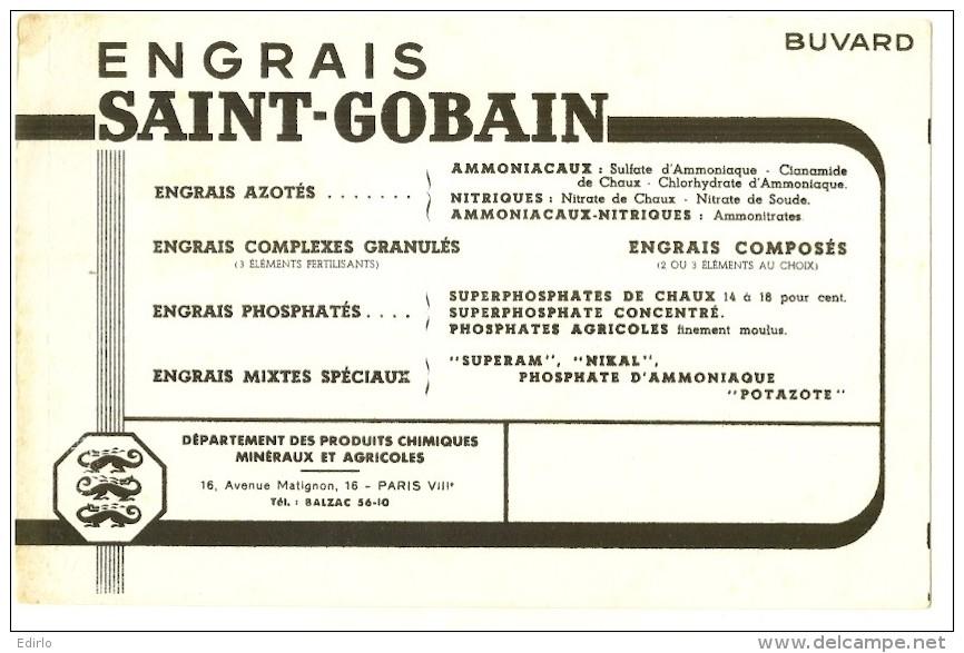 BUVARD  Agriculture - Engrais Saint Gobin PARIS - Petite Tache - Agriculture