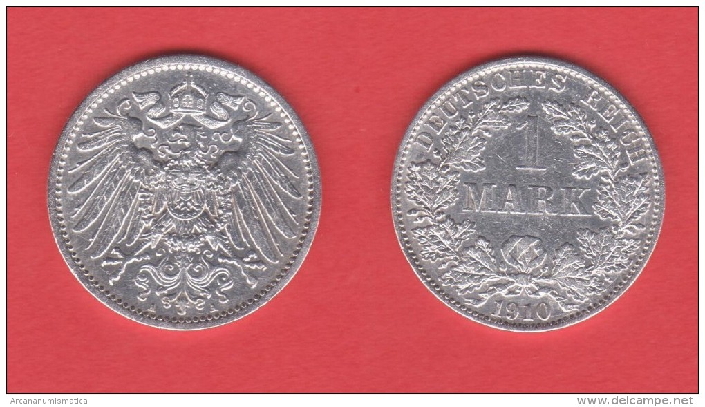 ALEMANIA  / GERMANY (IMPERIO)  1 MARCO  PLATA /SILVER   1.910 A  KM#14  MBC/VF    DL-10.912 - 1 Mark