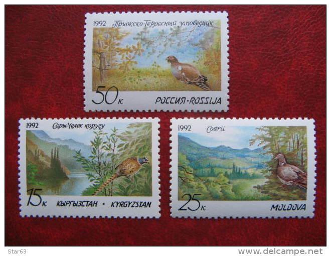 Kyrgyzstan Moldova Russia 1992  Nature Reserve.  Birds.  3 St. MNH - Natur