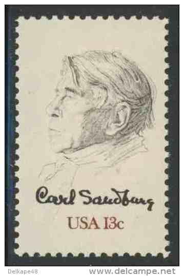USA 1978 Mi 1324 YT 1184 Sc 1731 * MH - Carl Sandburg (1878-1967) American Writer, Editor, Poet / Dichter - Schrijvers