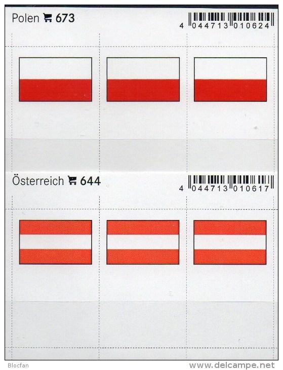 In Farbe 2x3 Flaggen-Sticker Österreich+Polen 4€ Kennzeichnung Alben Karten Sammlung LINDNER 644+673 Flag Austria Polska - Telefonkarten
