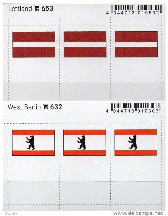 In Farbe 2x3 Flaggen-Sticker Lettland+Berlin 4€ Kennzeichnung Alben Karten Sammlung LINDNER 653+632 Flag Latvija Germany - Telefonkarten