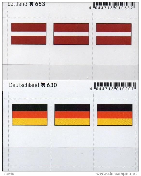 In Farbe 2x3 Flaggen-Sticker Lettland+BRD 4€ Kennzeichnung Alben Karten Sammlungen LINDNER 653+630 Flags Germany Latvija - Telefonkarten