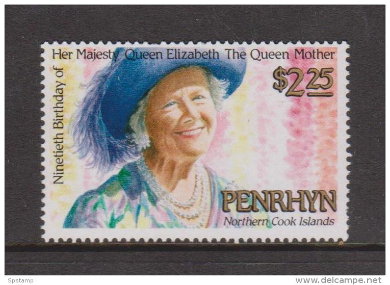 Penrhyn Island 1989 Queen Mother Birthday Single MNH - Penrhyn