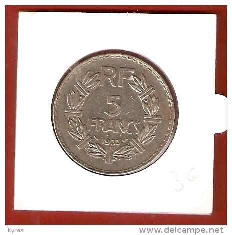 FRANCE . PIECE DE 5 FRANCS 1933  Nickel (graveur A. LAVRILLIER ) - France