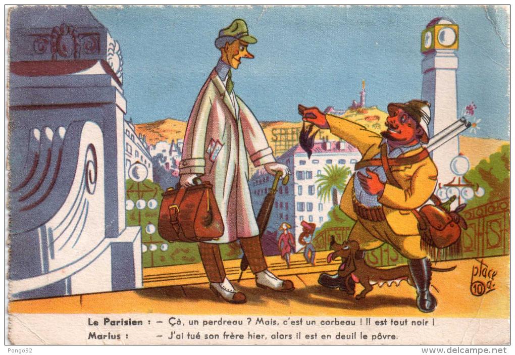 """Blague De Marius Qui Montre Un Corbeau à Un """"citadin"""" Dessin De Ptacé  (12.78) - Humour"""