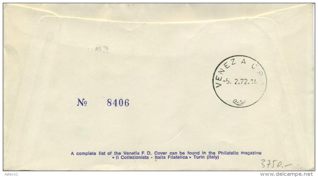 ITALIA - FDC VENETIA 1972 - GIOVANNI VERGA - LETTERATURA - ANNULLO CATANIA - VIAGGIATA PER VENEZIA - F.D.C.