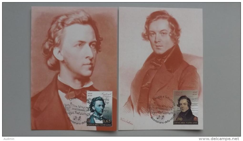 Vatikan 1677/8 YT 1542/3 Maximumkarte MK/MC, ESST, 200 Geb. Von Fryderik Chopin Und Robert Schumann. - Cartes-Maximum (CM)