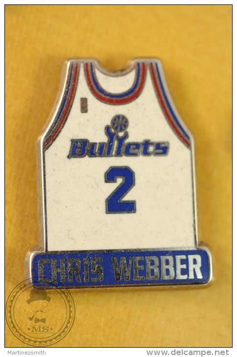 Chris Webber - Basketball Bullets Team No 2 T-Shirt, NBA  Pin Badge  - #PLS - Baloncesto