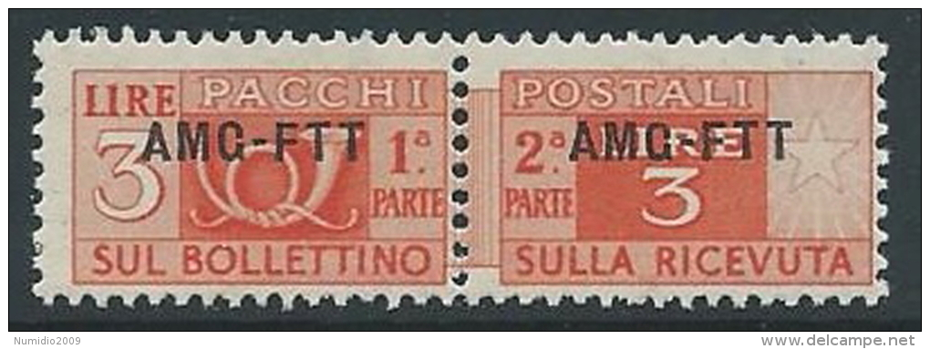 1949-53 TRIESTE A PACCHI POSTALI 3 LIRE MNH ** - ED070-4 - Paketmarken/Konzessionen