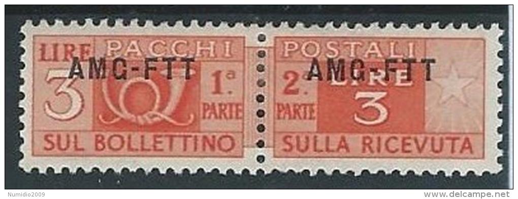1949-53 TRIESTE A PACCHI POSTALI 3 LIRE MH * - ED072 - Paketmarken/Konzessionen