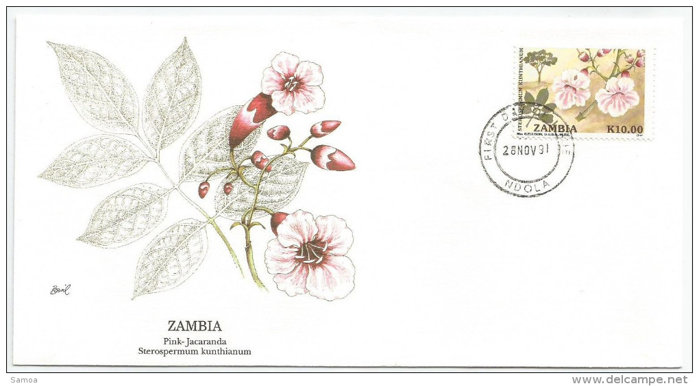 Zambie 1991 547 FDC - Fleurs - Arbre - Jacaranda Rose -Dessin Basil Smith - Zambie (1965-...)