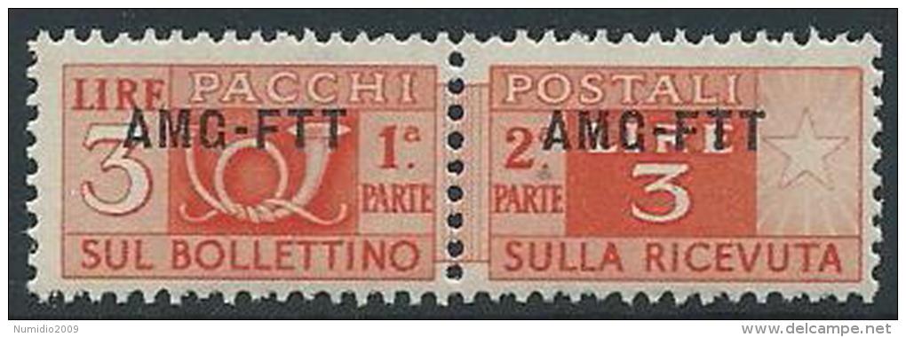 1949-53 TRIESTE A PACCHI POSTALI 3 LIRE MNH ** - ED097 - Paketmarken/Konzessionen