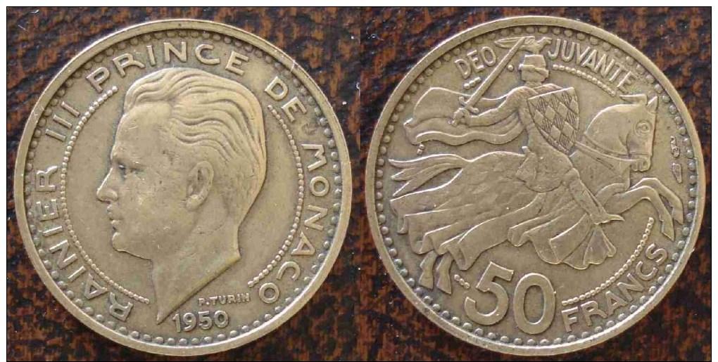 (J) MONACO: 50 Francs 1950 XF+ (559) - Monaco