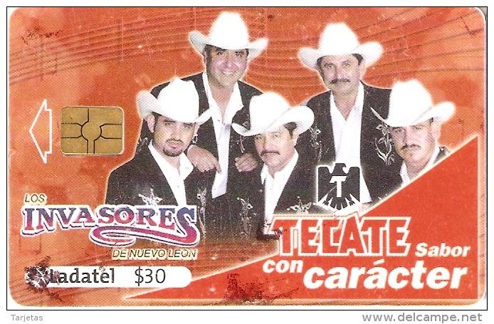 TARJETA DE MEXICO DE CERVEZA TECATE (BEER) GRUPO MUSICAL LOS INVASORES - Publicidad