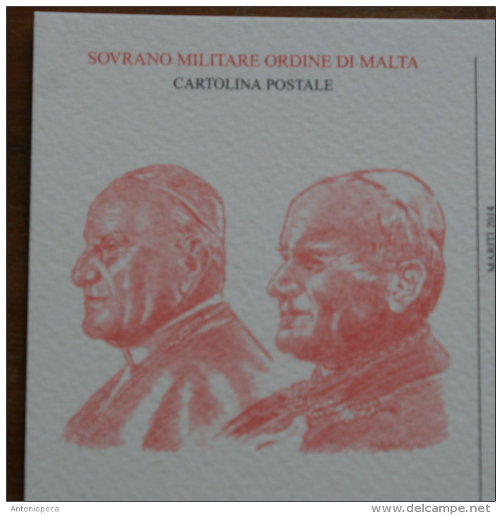SMOM 2014 -   CANONISATION POPES JOHN  PAUL II AND JOHN XXIII , 2 POSTCARDS - Papes
