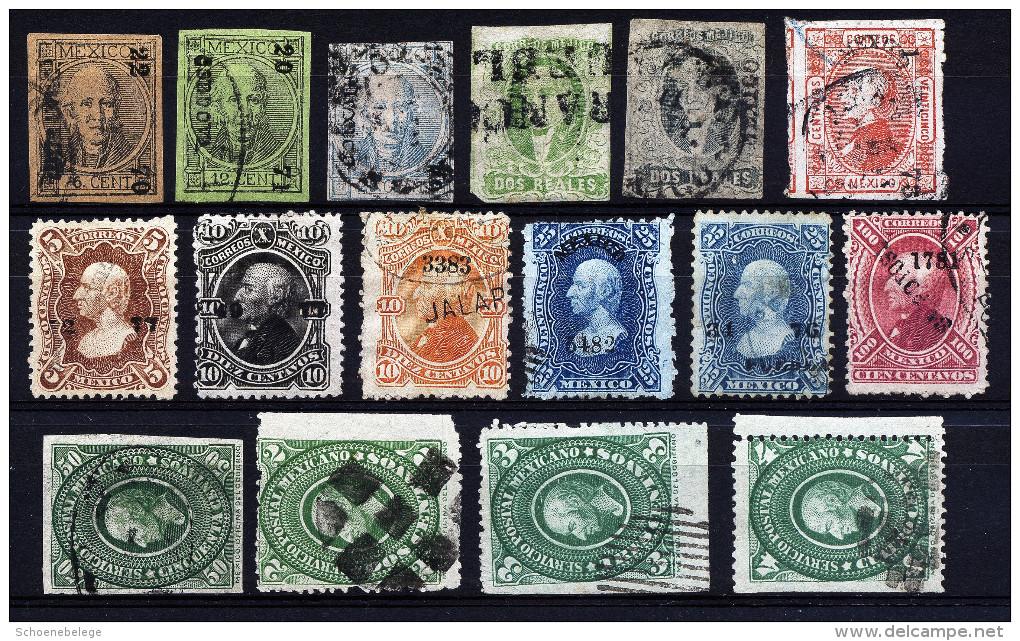 A2696) Mexico 16 Old Stamps - 16 Verschiedene Alte Marken - Mexiko
