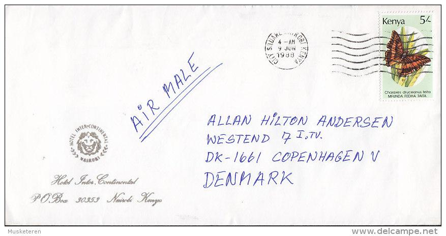Kenya Airmail HOTEL INTER-CONTINENTAL, NAIROBI 1988 Cover Brief Schmetterling Butterfly Papillon Lion Löwe Cachet - Kenia (1963-...)