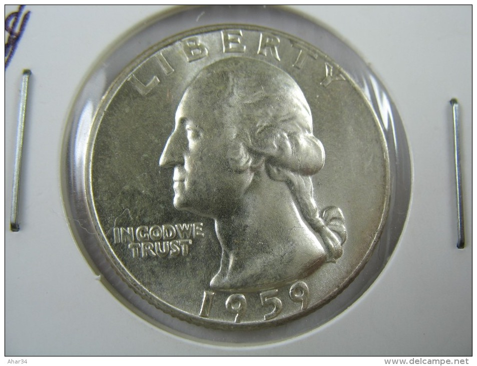 US USA 1 ONE QUARTER DOLLAR 25 CENTS SILVER 1959 COIN GEM HIGH GRADE LOT 18 NUM 19 - 1932-1998: Washington