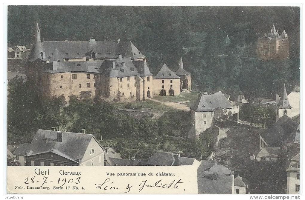 Clervaux (Klierf) - Vue Panoramique Du Château (Nels 17/4 Colorisée - Ca. 1903) - Clervaux