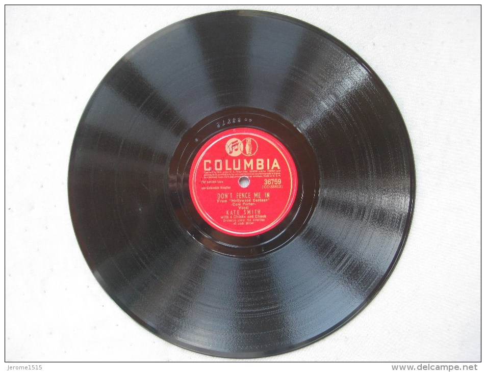 """Disque Ancien 78 Tours Gramophone Columbia """"don't Fence Me In Et There Goes That Song Again""""  & - 78 G - Dischi Per Fonografi"""