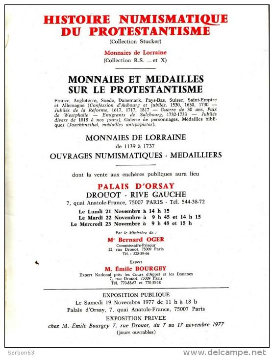 MONNAIES DE COLLECTION ANCIENNES BEAU CATALOGUE STUCKER 1977 NUMISMATIQUE LORRAINE PROTESTANTISME PARIS PALAIS D'ORSAY - Français