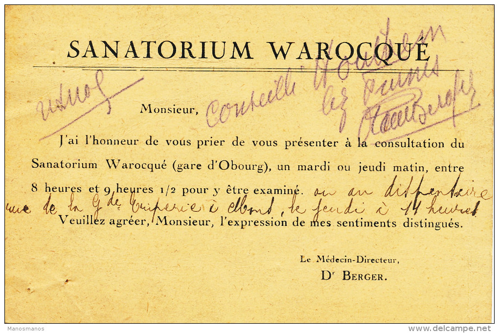 344/22 --  Carte Privée TP Cathédrales 25 C Et Houyoux MONS 1928 - Exp. Sanatorium Warocqué Gare D´ OBOURG - 1922-1927 Houyoux