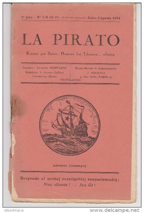 Magazine La Pirato In Esperanto From July-August 1934 - Revuo La Pirato De Julio-Aŭgusto 1934 - Oude Boeken