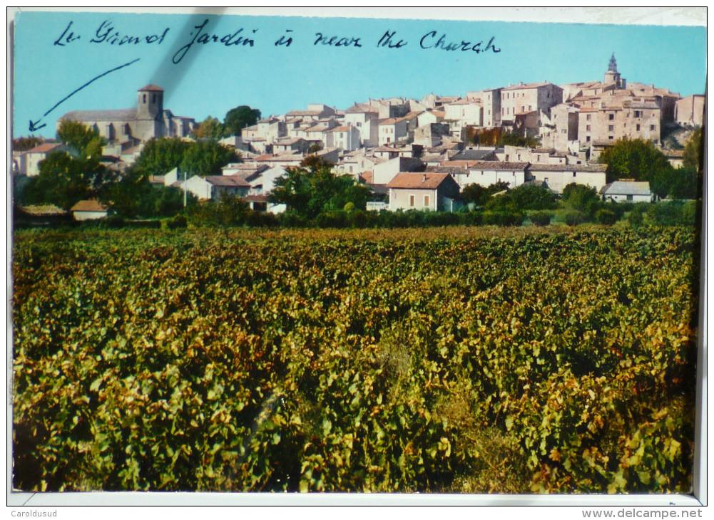 Caromb  Vaucluse Vue Generale Village Eglise Et Beffroi  Dans Vignes Avec Dos Ecrit Plan Sortie Avignon - Autres Communes