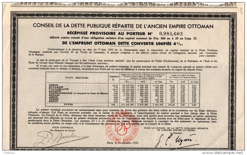 CONSEIL DE LA  DETTE PUBBLIQUE REPARTIE DE L'ANCIEN  EMPIRE  OTTOMAN - Altri