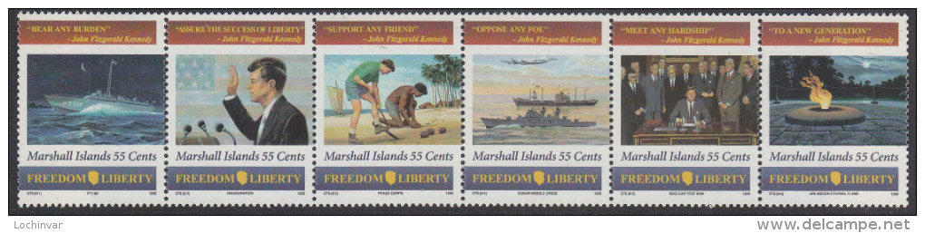 MARSHALL Is, 1995 KENNEDY STRIP 6 MNH - Islas Marshall