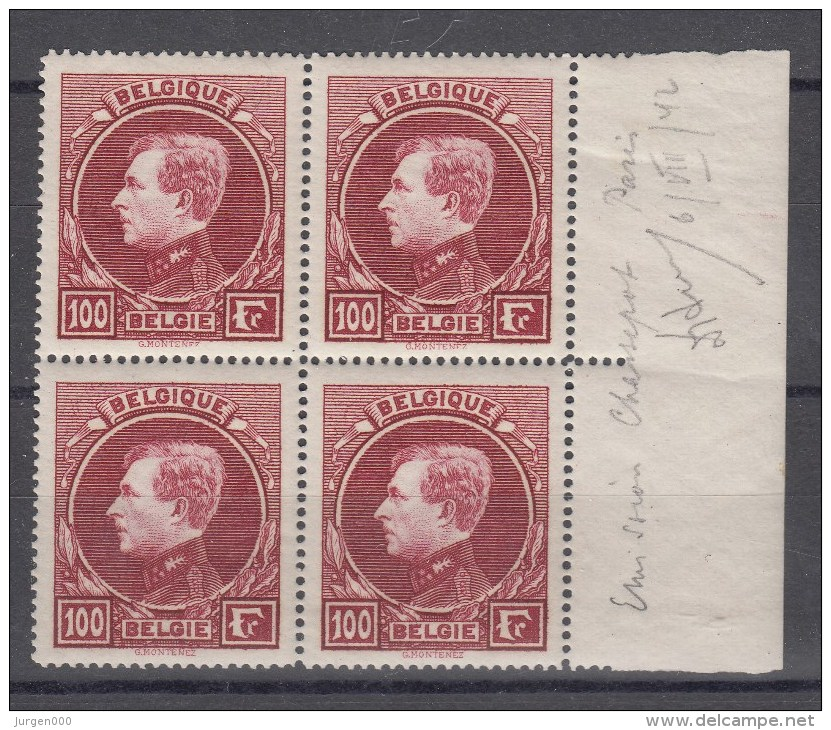 Nr 292 (4) **, In Blok Van 4 Met Bladboord, Cote = 600 € (X10905) - 1929-1941 Grand Montenez
