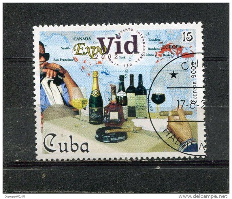 CUBA. 2002. SCOTT 4209. EXPOVID 2002 WINE EVENT. CIGAR SMOKERS, WINE BOTTLES AND CLASSES, MAP OF WINE PRODUCING AREAS - Gebraucht